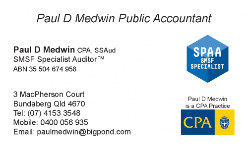 Paul D Medwin FCPA SSAud